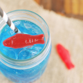 Summer drink with gummy fish.